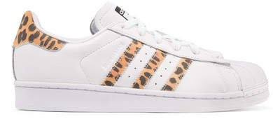 Superstar Leopard Print-trimmed Leather Sneakers - White
