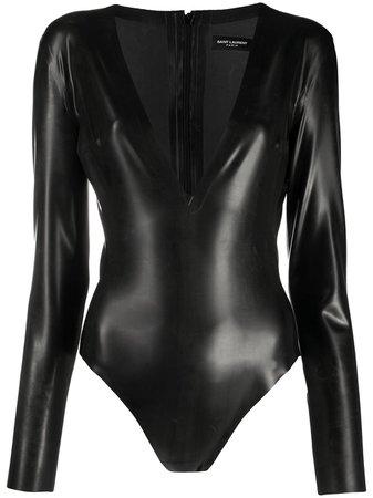 Saint Laurent Deep V-neck Latex Bodysuit - Farfetch
