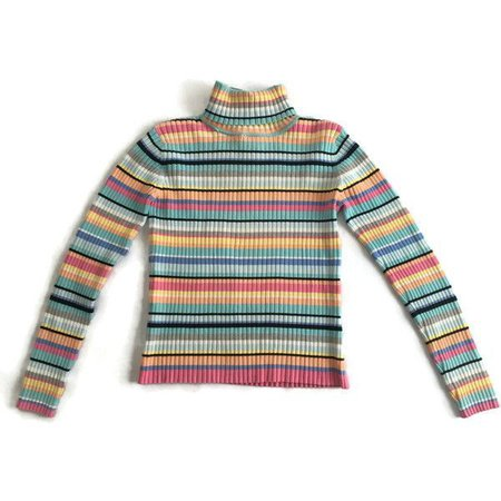 90s Grunge Pastel Striped Ribbed Turtleneck Vintage Sweater