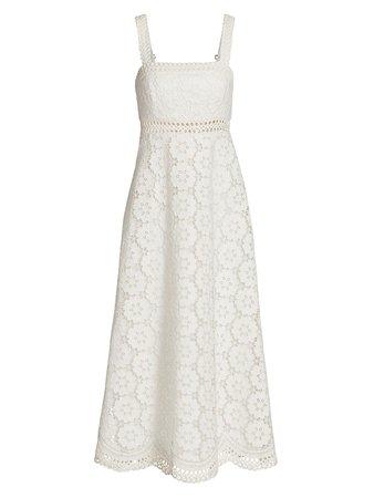 Zimmermann Bells Lace Eyelet Linen-Blend Midi Dress