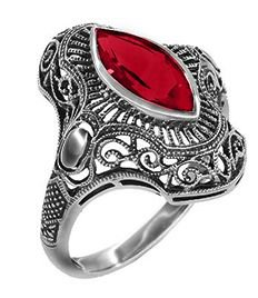 Art Deco Filigree Marquise Garnet Cocktail Ring in Sterling Silver | Vintage Inspired - Antique Jewelry Mall