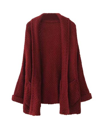 burgundy knit knitted sweater cardigan