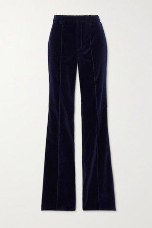 Velvet Flared Pants - Navy