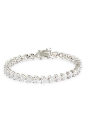 Nina Heart Shaped Cubic Zirconia Link Bracelet | Nordstrom