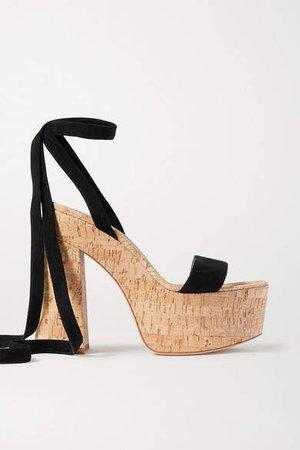 120 Suede Platform Sandals - Black