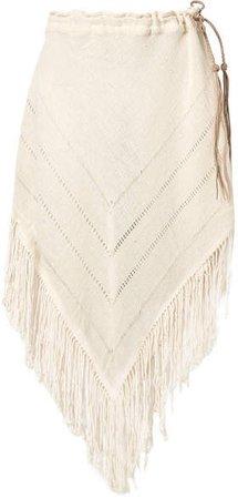 Caravana - Tecoh Leather-trimmed Fringed Cotton-gauze Skirt - Ecru