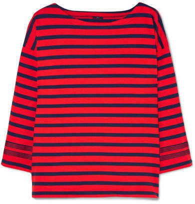 Grosgrain-trimmed Striped Cotton-jersey Top - Red