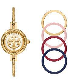 Tory Burch Women's Reva Gold-Tone Stainless Steel Bangle Bracelet Watch 27mm Gift Set & Reviews - All Fine Jewelry - Jewelry & Watches - Macy's