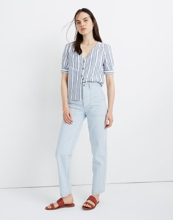 Plaza Button-Front Shirt in Stripe