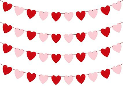 Amazon.com: Valentines Day Decoration- 3.9 Inches Valentine's Day Decor Heart Banner Pink&Red Pack of 40 NO DIY Valentine's Day Heart Felt Garland for Valentines Day Anniversary Wedding Party Supplies Decorations: Home & Kitchen