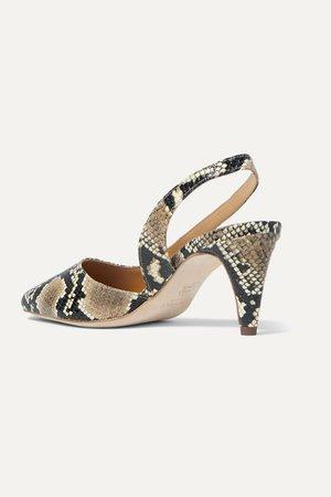 Snake print Lauren snake-effect leather slingback pumps   BY FAR   NET-A-PORTER