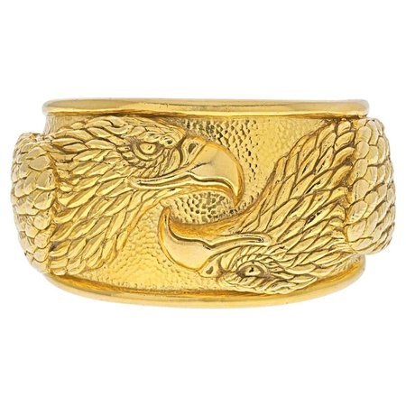 David Webb 18K Yellow Gold Double Head Eagle Cuff Bracelet For Sale at 1stDibs
