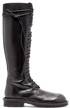 Knee High Lace Up Leather Boots - Womens - Black