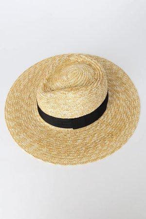 Beige Woven Hat - Fedora - Brimmed Hat - Sun Hat - Woven Fedora