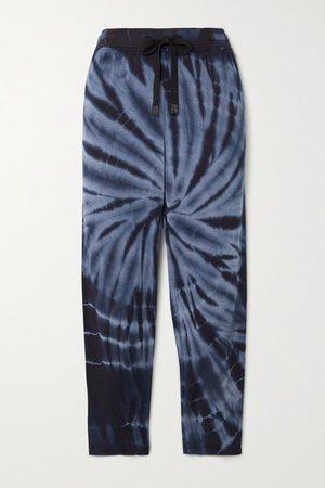 Reena Tie-dyed Stretch-modal Track Pants - Navy