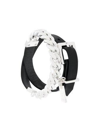 Coup De Coeur Chain Wrap Bracelet LEATHERCHAINWRAPBRACELETSILVER Black | Farfetch