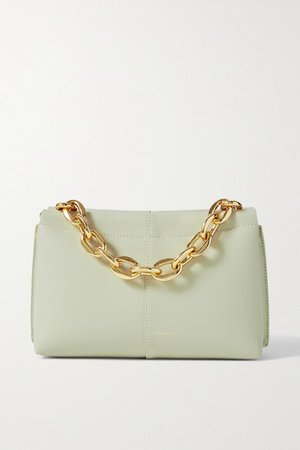 Carly Mini Leather Shoulder Bag - Gray green