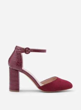 Wide Fit Burgundy 'Deena' Court Shoes | Dorothy Perkins
