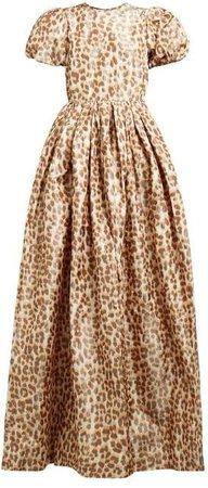 Leopard Print Puff Sleeve Taffeta Gown - Womens - Leopard