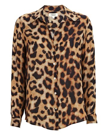 L'Agence Nina Silk Leopard Blouse | INTERMIX®