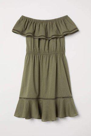 Off-the-shoulder Dress - Green