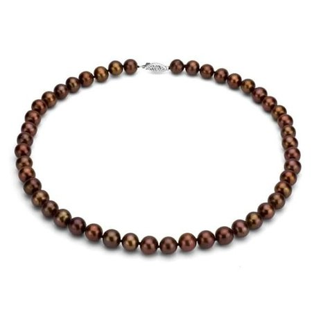 DaVonna Silver Brown FW Pearl 18-inch Necklace (7.5-8 mm)
