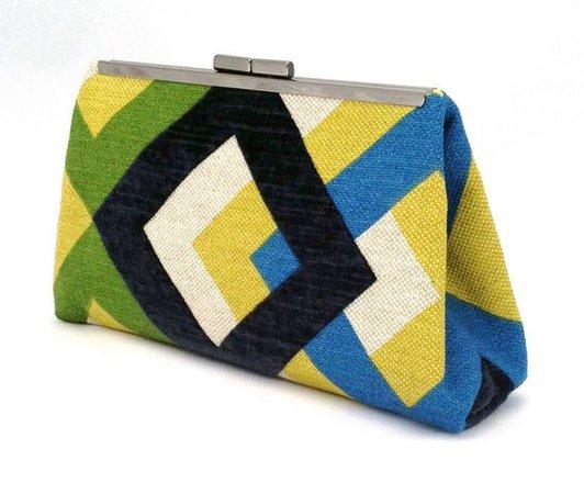 Yellow Lime Green Navy Blue White Handbag Blue Retro Clutch