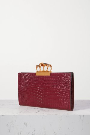 Burgundy Four Ring embellished croc-effect leather clutch   ALEXANDER MCQUEEN