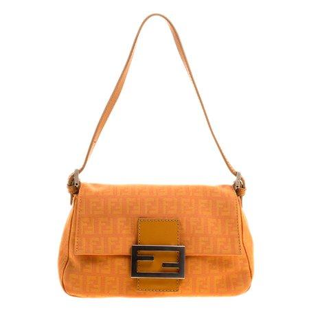 Buy Fendi Orange Zucchino Canvas Mini Mama Baguette Bag 128461 at best price   TLC
