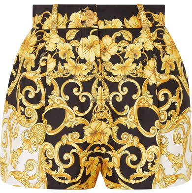 Printed Silk-crepe Shorts - Black