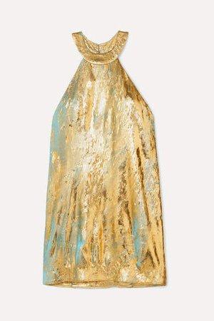 Metallic Georgette Mini Dress - Gold