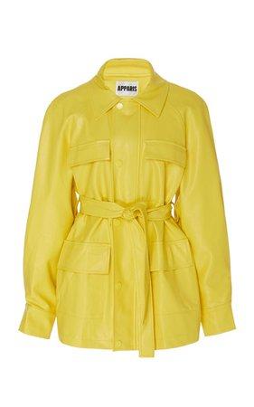 yellow leather jacket vest top