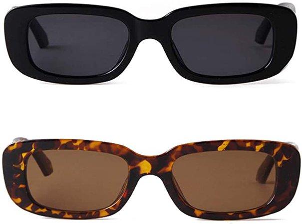 Amazon.com: BUTABY Rectangle Sunglasses for Women Retro Driving Glasses 90's Vintage Fashion Narrow Square Frame UV400 Protection Black & Tortoise: Clothing