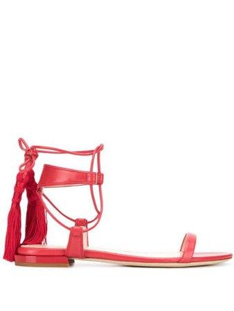 Lanvin Tasseled Flat Sandals FWSAFS16NAGOP19 Red | Farfetch