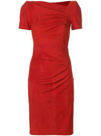 Shop red Talbot Runhof fitted ruched dress with Express Delivery - Farfetch
