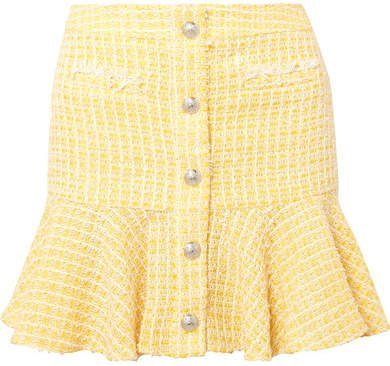 Ruffled Checked Bouclé-tweed Mini Skirt - Yellow