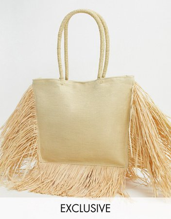 South Beach Exclusive straw tote bag with fringed edge in natural | ASOS
