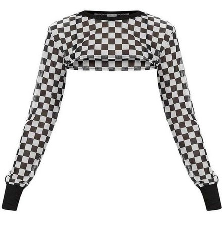 Checkered Cropped Sheer Top | ShopLook