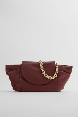 LEATHER SHOULDER BAG WITH PLEATS AND CHAIN   ZARA Portugal