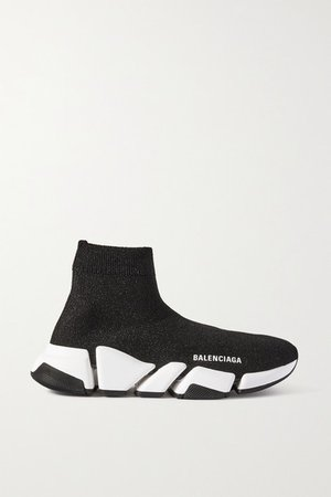 Speed 2.0 Logo-print Glittered Stretch-knit High-top Sneakers - Black