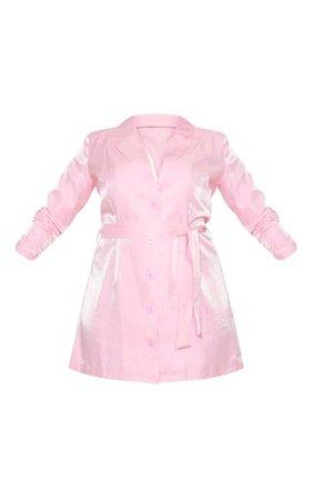 Plus Blush Shimmer Satin Tie Waist Blazer Dress | PrettyLittleThing