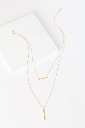 Classic Gold Necklace - Layered Necklace - Bar Charm Necklace