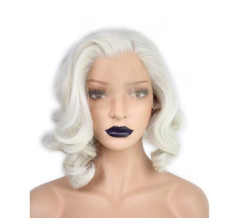 short curly white wig