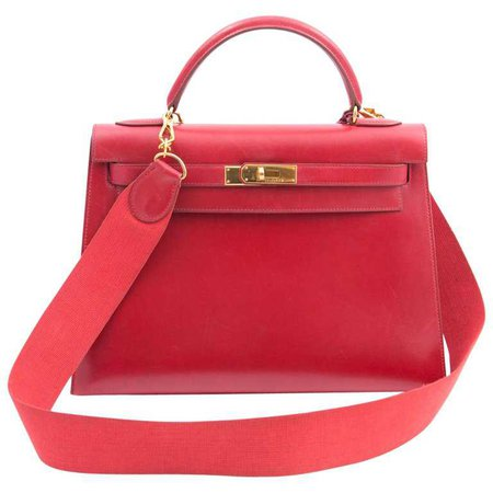 Hermes Red Box Calf 32cm Kelly Tote Bag, 1997 For Sale at 1stdibs