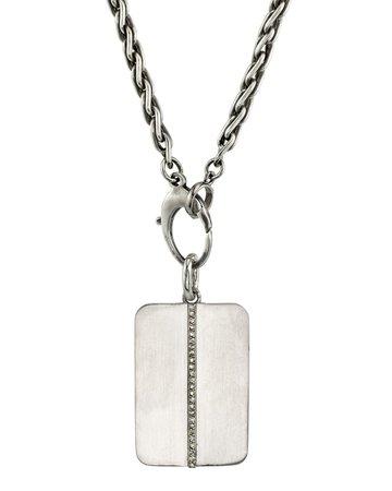 "Mr. Lowe 28"" Linear Diamond Dog Tag Necklace"