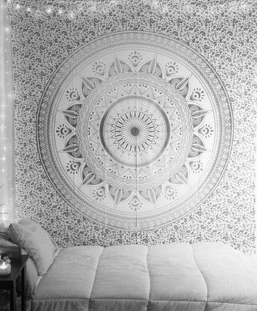 Indian Mandala Tapestry Queen Gray Dorm Room Wall Tapestry
