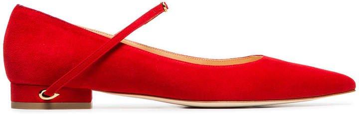 Jennifer Chamandi red lorenzo suede leather ballerina pumps