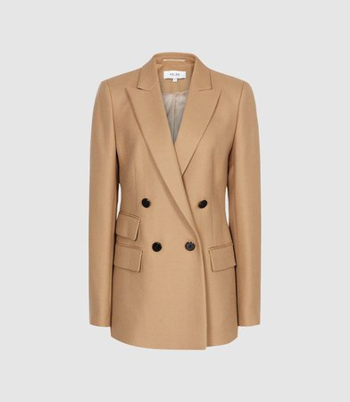 Ledbury Jacket Camel Wool Blend Double Breasted Jacket – REISS