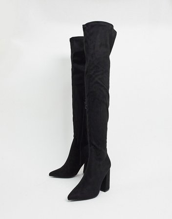 Truffle Collection thigh high heeled boots in black | ASOS