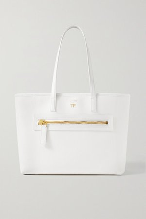 Textured-leather Tote - Ivory